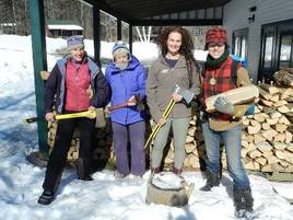 Women with axes and logs